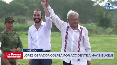 López Obrador golpea por accidente en la cara a Nayib Bukele