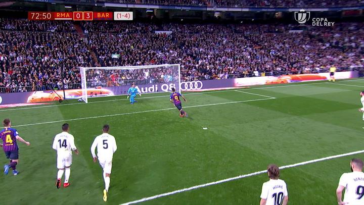 Copa del Rey: Real Madrid-Barça. Gol de Luis Suárez de penalti a lo Panenka (0-3)