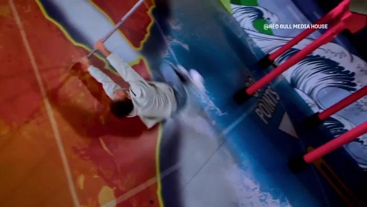 Freerunner becomes human pinball in giant arcade machine