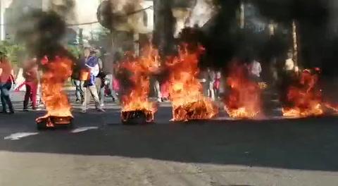 Se registran protestas en el bulevar Juan Pablo II de Tegucigalpa
