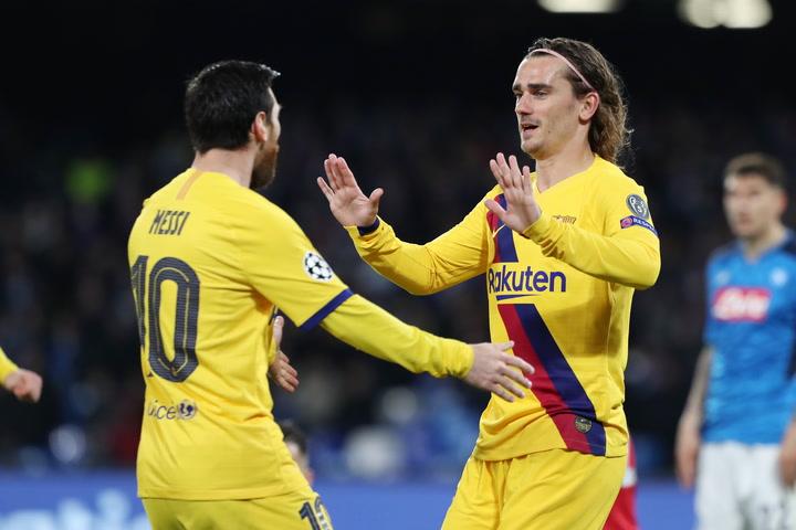 Champions League: Nápoles-Barça. Gol de Griezmann (1-1)