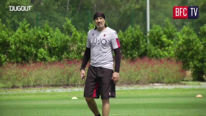 Bologna training ahead of Juventus visit