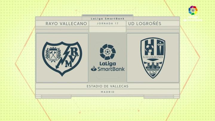 LaLiga SmartBank (J17): Resumen y goles del Rayo Vallecano 2-1 UD Logroñés