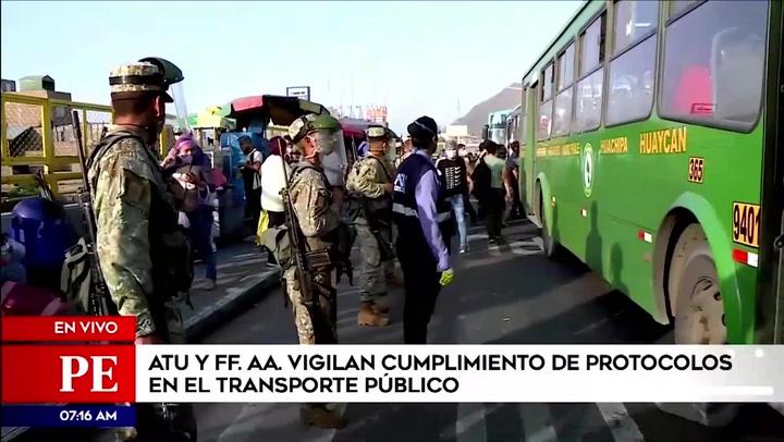 Fuerzas Armadas vigilan que se cumplan protocolos sanitarios en el transporte público