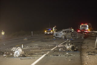 Fiery crash kills 5 northwest of Las Vegas