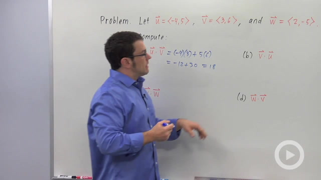 The Dot Product of Vectors - Problem 1