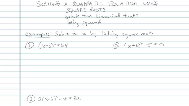 Solving Quadratic Equations Using Square Roots - Problem 12