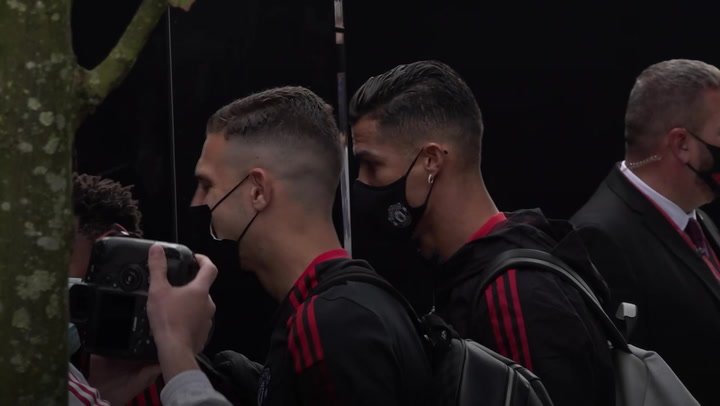 Cristiano Ronaldo leaves for Old Trafford before Newcastle match