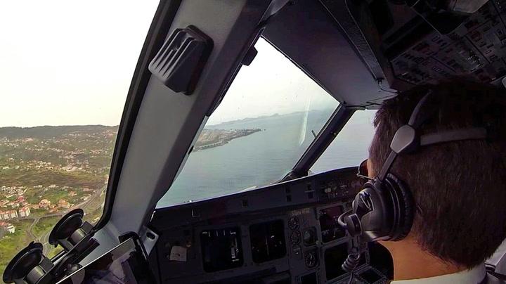 Sett fra cockpit: Her lander de på «fryktede» Madeira