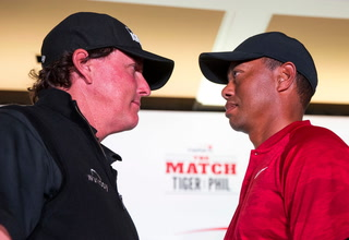 Tiger Woods and Phil Mickelson Stare Down in Front of Media