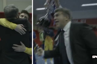 Tremendo abrazo con Messi: La locura de Joan Laporta en el vestuario del Barcelona tras ganar la Copa del Rey