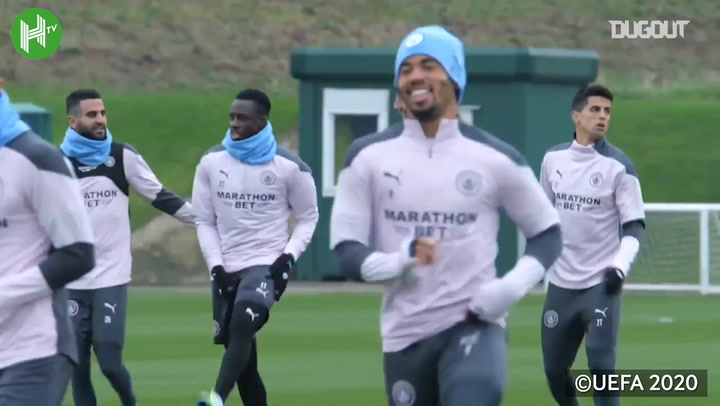 Manchester City train before Olympiacos trip