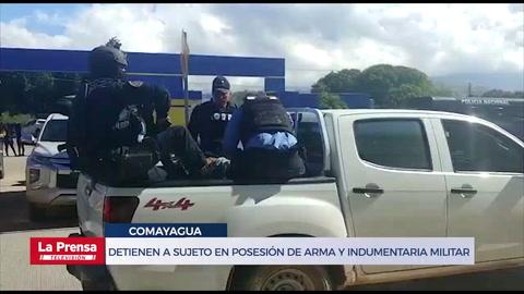 Detienen a sujeto en posesión de arma, munición e indumentaria militar en Comayagua