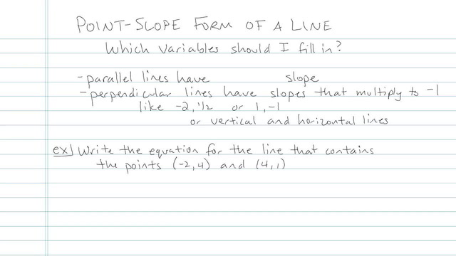 Point-Slope Form of a Line - Problem 4