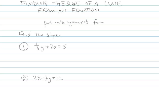 Finding the Slope of a Line from an Equation - Problem 5
