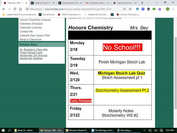 Honors Michigan Stoichiometry Lab - pt 2