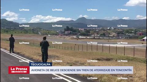 Avioneta de Belice desciende sin tren de aterrizaje en Toncontín