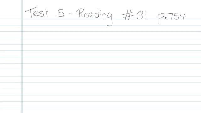 Test 5 - Reading - Question 31