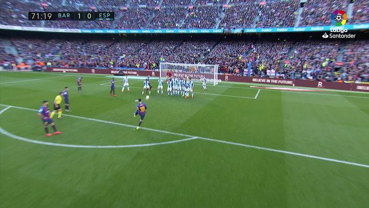 LaLiga: Barça - Espanyol. Gol de Lionel Messi de falta en el minuto 71 (1-0)