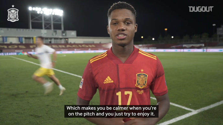 Ansu Fati thanks his teammates after becoming Spain's youngest goalscorer