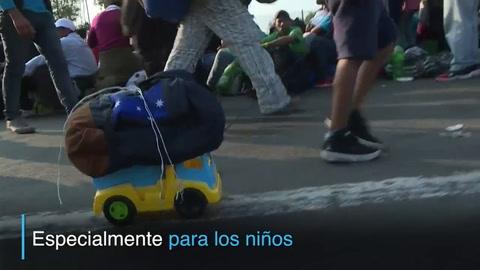 Los niños de la caravana migratoria