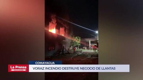 Voraz incendio destruye negocio de llantas en Comayagua
