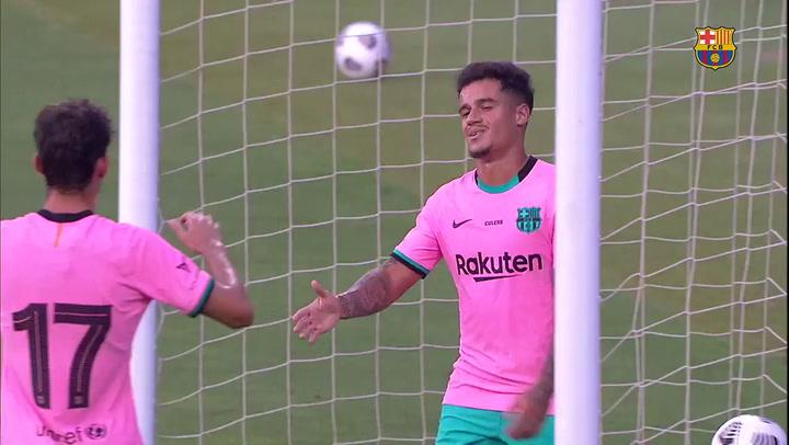 Combinación letal de la delantera azulgrana en el 1-0 de Coutinho