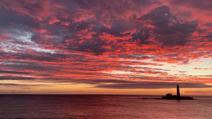 Stunning sunrise captured over St Mary's Lighthouse, Whitley Bay