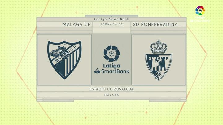 LaLiga SmartBank (J22): Resumen y goles del Málaga 0-2 Ponferradina