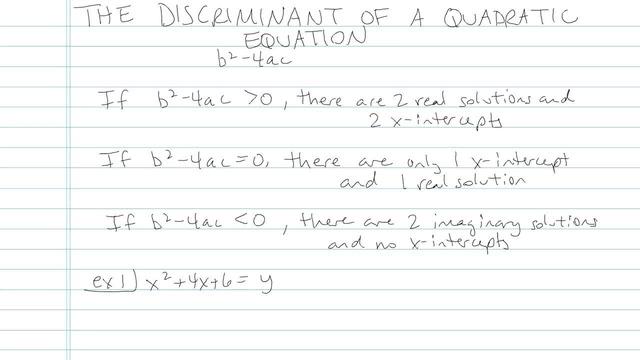 The Discriminant - Problem 5