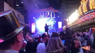 Crowds get started early at Fremont Street in Las Vegas