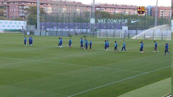 Entrenamiento del Barça en la previa del partido de Copa ante el Rayo