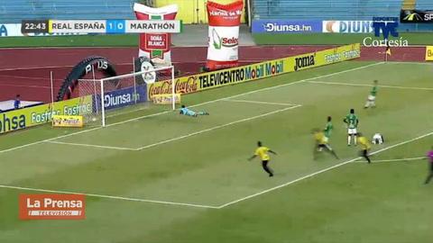 El golazo de Rony Martínez en el derbi sampedrano contra Marathón