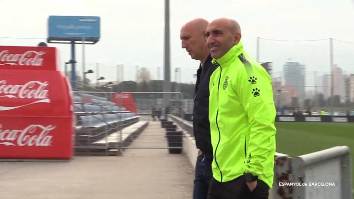 Primera sesión de entrenamiento de Abelardo en el RCD Espanyol