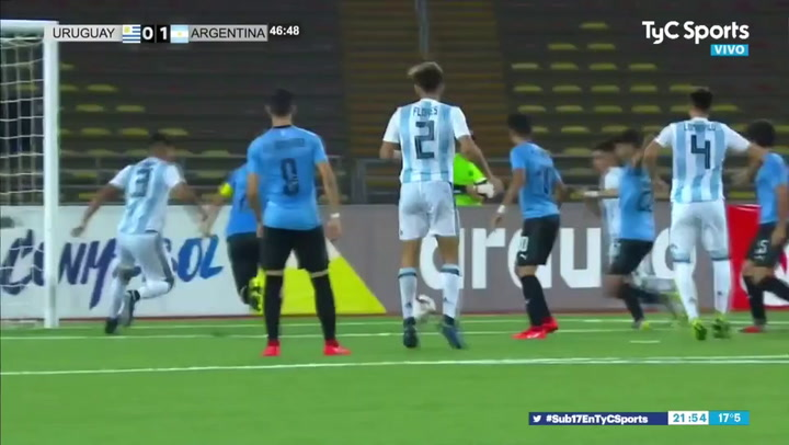 Gol de Juan Sforza con la selección argentina