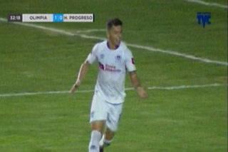 Matías Garrido anota el 2 - 0 de Olimpia ante Honduras Progreso