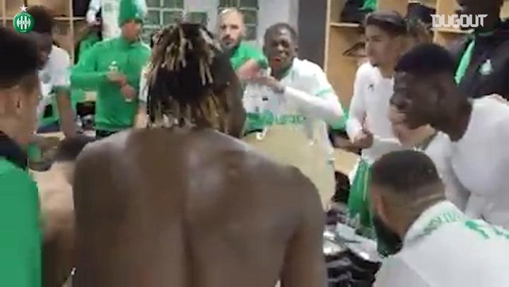 Saint-Etienne's celebrations after win at Rennes