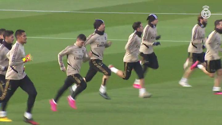 Bale se entrena con el grupo y apura para llegar a la Copa del Rey