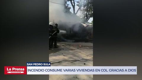Incendio consume varias viviendas en Colonia Gracias a Dios de San Pedro Sula