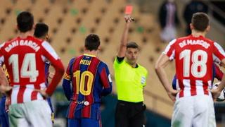 Perdió la cabeza: La fea agresión de Messi en la final de la Supercopa de España