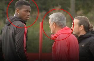 ¡Qué miradas! Pogba y Mourinho discuten en pleno entrenamiento del United