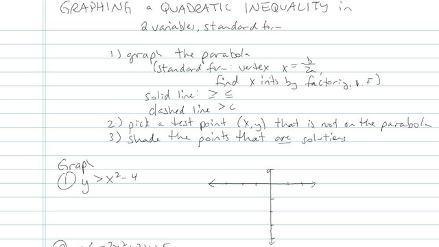 Graphing a Quadratic Inequality - Problem 3