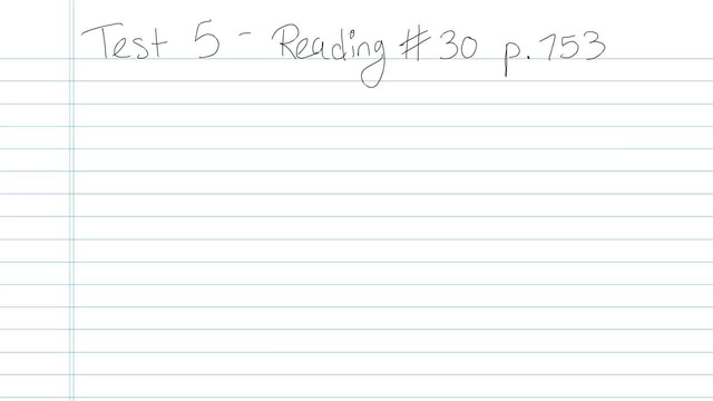 Test 5 - Reading - Question 30