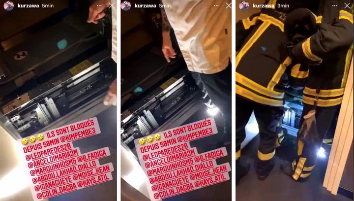 Medio equipo del PSG, bloqueado en el ascensor del hotel