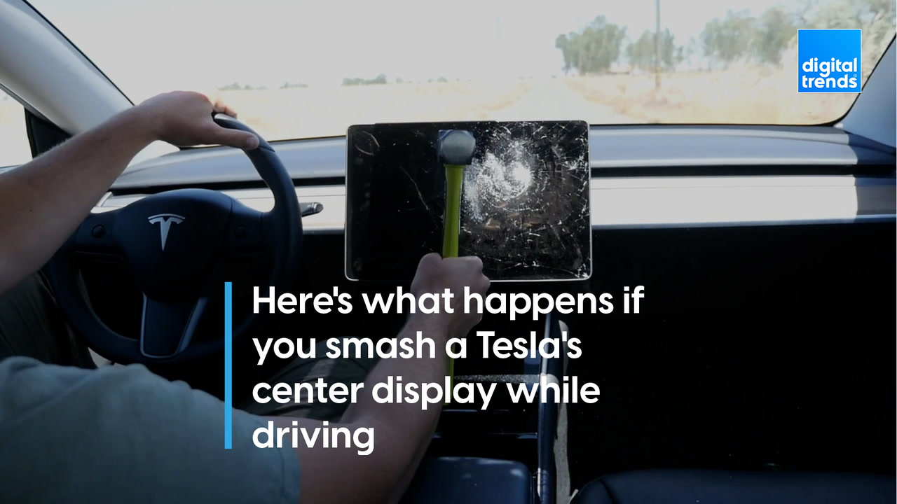 Here's what happens if you smash a Tesla's center display while driving
