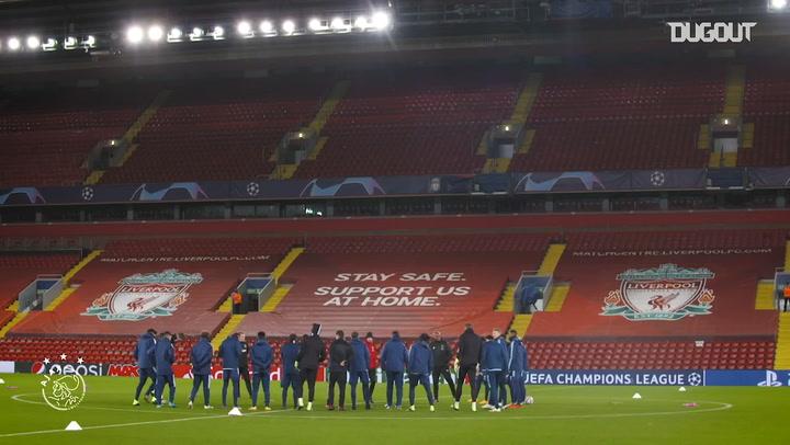 Ajax stars train on Anfield pitch