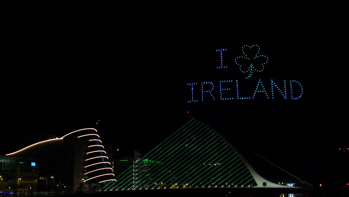 St Patrick's Day: Spectacular drone light show in Dublin