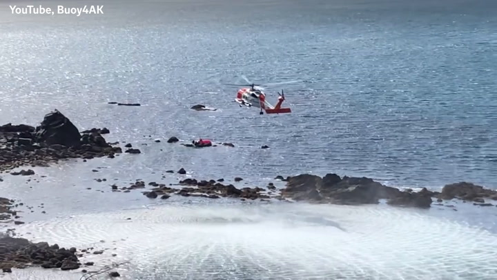 Group stranded on inflatable flamingo rescued by US coast guard