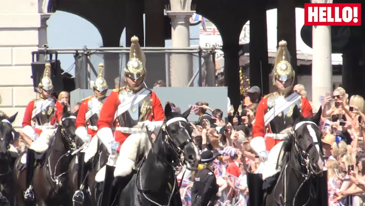 Harry And Meghan Wave To Crowds On Royal Procession