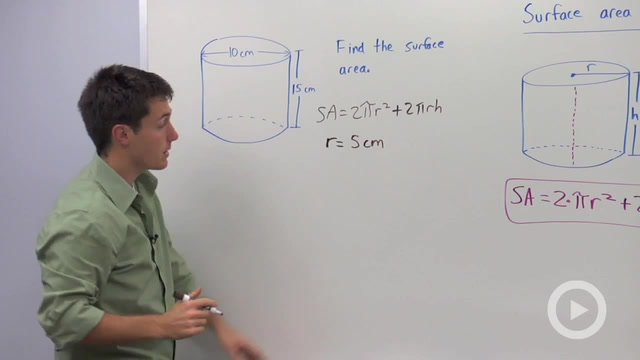 Surface Area of Cylinders - Problem 1